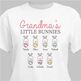 Personalized Easter t-shirt will show off Grandma's little bunnies with pride. (White)