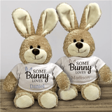 Adorable 12 inch tall brown bunny sports a personalized t-shirt with your favorite person's name in blue or pink.