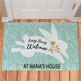Personalized Easter doormat for a special grandma, welcomes every bunny!
