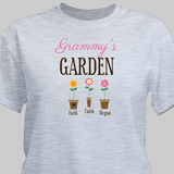 """Personalized T-Shirt """"Grandma's Garden"""" with Grand Flowers! (Gray)"""