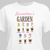 """Personalized T-Shirt """"Grandma's Garden"""" with Grand Flowers! (White)"""