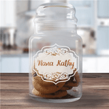 Vintage engraved glass treat jar for Grandma's special treats.