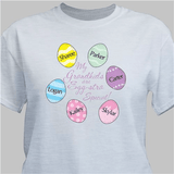 """""""My Grandkids are Egg-stra Special"""" Easter T-shirt for Grandma (shown in Gray, also available in White and Pink)"""