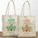 Happy Easter totes in pink or blue, personalized for your special child.