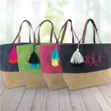 Soft jute tassle tote is a fun way to carry all your summer supplies, in your choice of four colors.