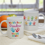 "Personalized ""World's Best Grandma...Hands Down!"" Mug"