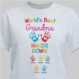 "Personalized T-Shirt ""World's Best Grandma - Hands Down"" (Gray)"