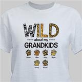 """Personalized Grandma T-Shirt """"Wild About My Grandkids"""" - Gray"""