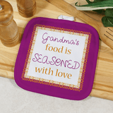 """Personalized Pot Holder for Grandma """"Seasoned With Love"""""""