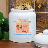 "Personalized ""Grandkid Artwork"" Cookie Jar for Grandma - ""Treats for my Sweets"""