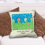 Grandkid Artwork and Special Message Pillow for Grandma