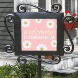 """Personalized """"Welcome to Grandma's"""" Ceramic Tile Stake - Pink"""