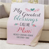 "Personalized ""My Greatest Blessings"" Sherpa for Grandma"