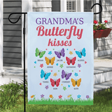 Personalized Butterfly Kisses Garden Flag for Grandma