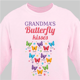 Personalized Sweatshirt for Grandma's butterfly kisses (Pink)