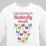 Personalized Sweatshirt for Grandma's butterfly kisses (White)