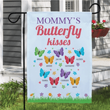 Personalized Butterfly Kisses Garden Flag For Any Family Member