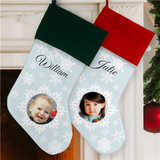 Snowflake Christmas stocking personalized with your photo and name.