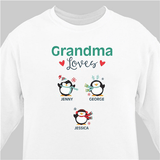 "Personalized Sweatshirt for Grandma and Her Little ""Penguins""."