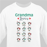 "Personalized Sweatshirt for Grandma with as many as twelve ""Penguins""."