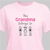 "Personalized T-Shirt ""This Grandma Belongs To"" in Pink."