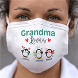 "Personalized Face Mask - Grandma ""Loves..."" featuring Penguins"