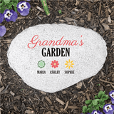 "Personalized ""Grandma's Garden"" Flat Garden Stone makes a unique gift for any family member."