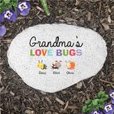 "Personalized ""Grandma's Love Bugs"" Flat Garden Stone"