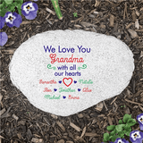 "Personalized ""We Love You Grandma"" Flat Garden Stone makes a unique gift for any family member."