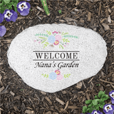 "Personalized Floral ""Welcome"" Flat Stone for Grandma's garden."