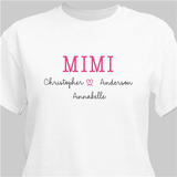 Personalized Love My Grandkids T-Shirt for Grandma - White