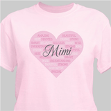 "Personalized ""Word Art"" T-Shirt for Grandma - Pink"
