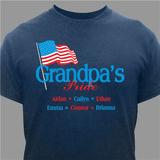 "Personalized ""Grandpa's Pride"" T-Shirt for a proud and patriotic grandpa."