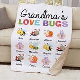 "Personalized 50""x60"" Sherpa ""Grandma's Love Bugs"""