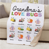 "Personalized ""Grandma's Love Bugs"" 37""x57"" Sherpa"
