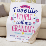"""Personalized Floral """"My Favorite People Call Me Grandma"""" 37""""x57"""" Sherpa"""