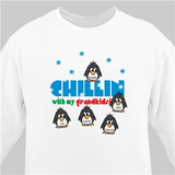 "Personalized Grandma Sweatshirt, ""Chillin With My Grandkids' - White"