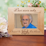 """Personalized """"Love Never Ends"""" Memorial Wooden Frame for Grandma."""