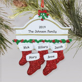 Hanging Stockings Family Ornament - 5 names