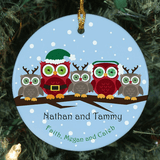 Personalized Owl Family Ornament for Family