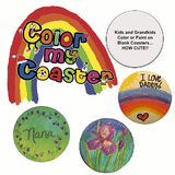 Color Me Coasters for your kids or grandkids to decorate become priceless keepsakes.  Set of four coasters.