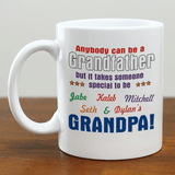 White ceramic mug just for Grandpa personalized with grandkid names.