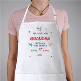 Personalized Apron - Love You With All Our Hearts in white.