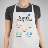 Personalized Apron - Grandma's Helping Hands in White.