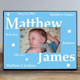Personalized Frame with Stars for Your New Baby Boy
