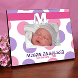 Personalized polka dot frame for girls.