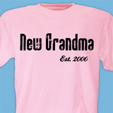 Personalized T-Shirt for New Grandma ... Established When? (Pink)