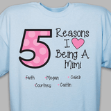 Personalized T-Shirt - Reasons I Love Being A Grandma (Blue)