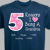 Personalized T-Shirt - Reasons I Love Being A Grandma (Navy)