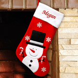 Personalized Red Christmas Stocking with Frosty the Snowman